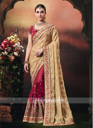 Art Silk and Chiffon Wedding Half n Half Saree
