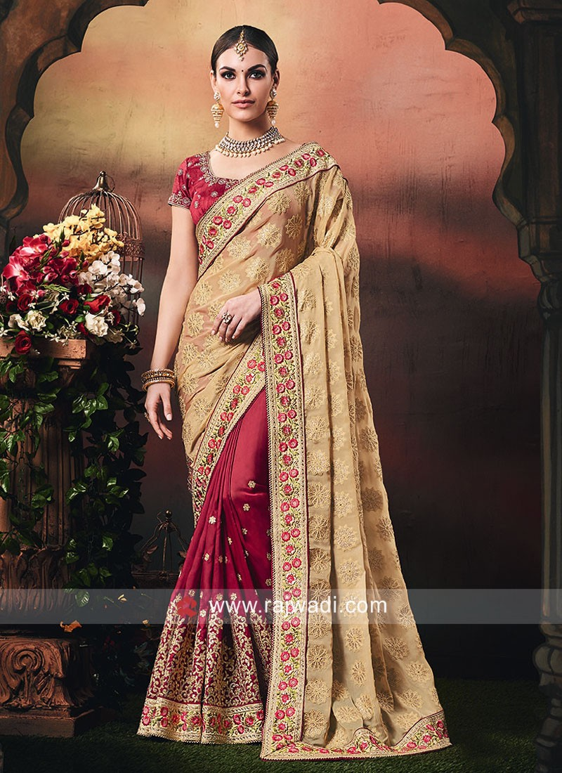 Art Silk and Chiffon Wedding Half n Half Saree