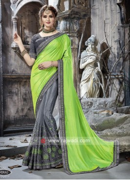 Art Silk and Net Half n Half Saree