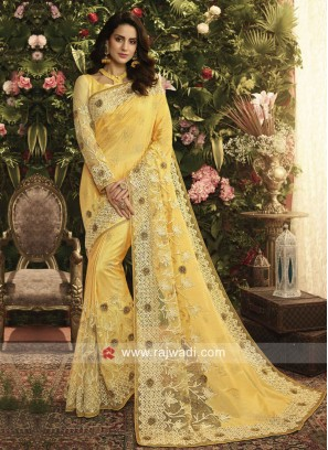 Art Silk and Net Yellow Saree