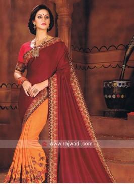 Art Silk and Satin Silk Half n Half Saree