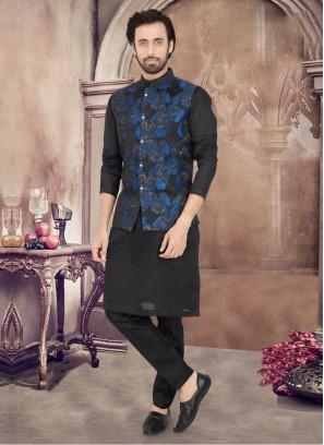 Art Silk Black And Blue Color Nehru Jacket Suit