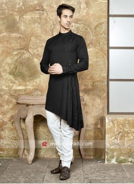 Art Silk Black Color Pathani Set