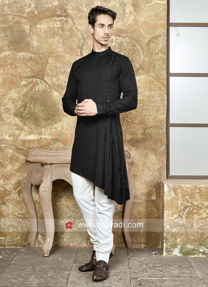 Art Silk Black Color Pathani Set