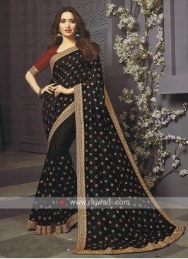 Art Silk Black Designer Saree