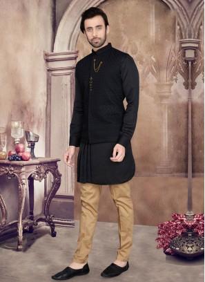 Art Silk Black Nehru Jacket Set