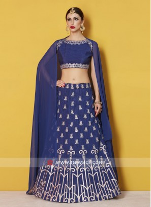 Art Silk Blue Embroidered Lehenga