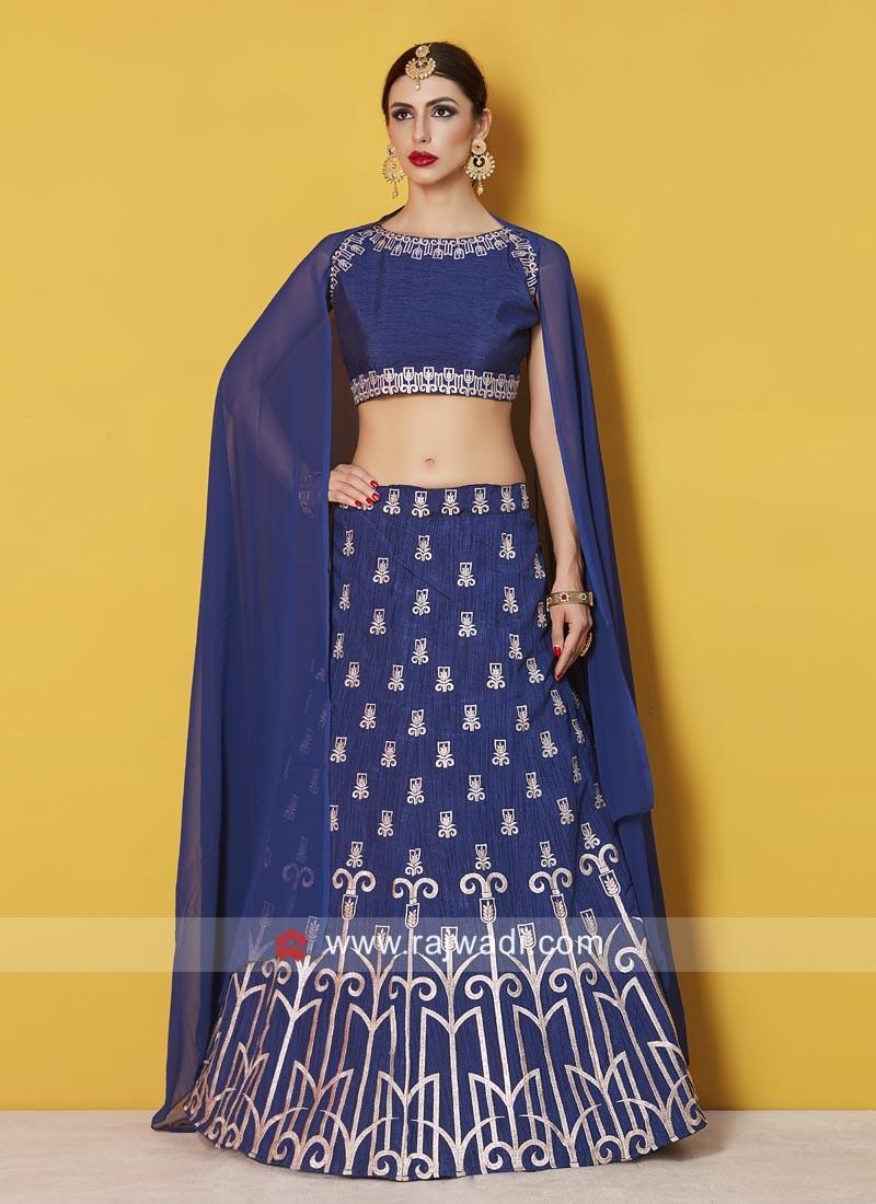 Art Silk Blue Embroidered Lehenga