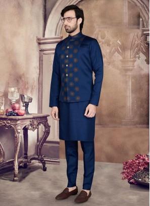 Art Silk Printed Nehru Jacket Set