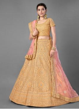 Art Silk Bollywood Lehenga Choli in Yellow