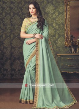 Art Silk Border Embroidered Saree
