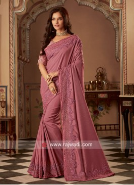 Art Silk Border Work Designer Saree