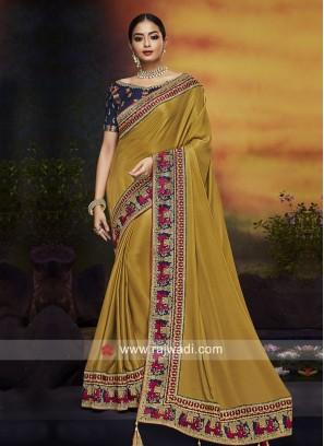 Art Silk Border Work Designer Saree