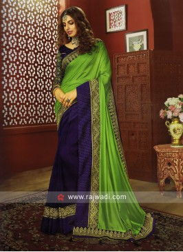 Art Silk Border Work Half n Half Saree