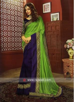 Art Silk Border Work Half n Half Saree