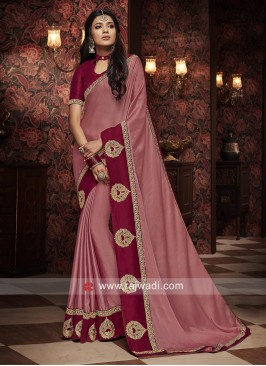 Art Silk Border Work Saree for Party