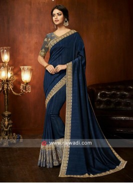 Art Silk Border Work Saree in Dark Blue