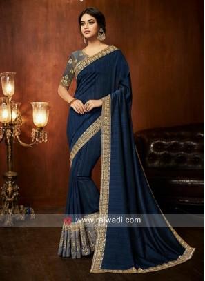 Art Silk Border Work Saree in Dark Blue