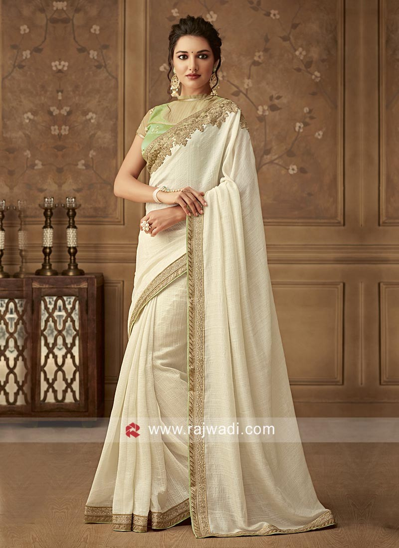 Art Silk Border Work Saree in Off White