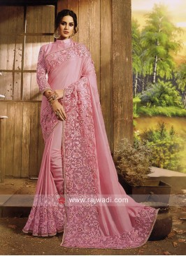 Art Silk Border Work Saree with Blouse