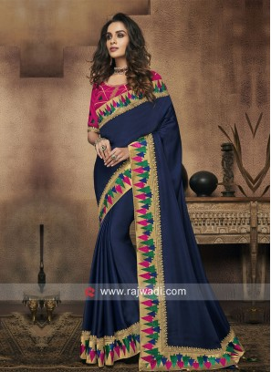 Art Silk Border Work Saree with Blouse