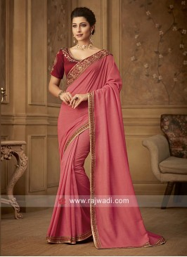 Art Silk Border Work Saree with Raw Silk Blouse