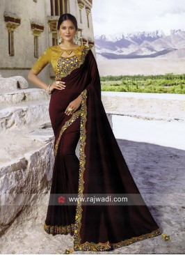 Art Silk Border Work Wedding Saree