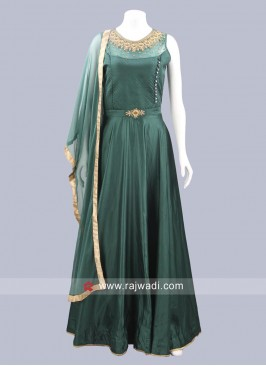 Art Silk Bottle Green Anarkali Suit