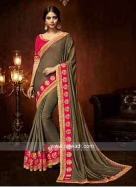 Art Silk Brown Patch Border Designer Traditional Saree