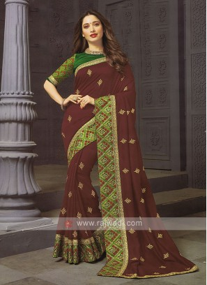 Art Silk Burgundy Designer Saree