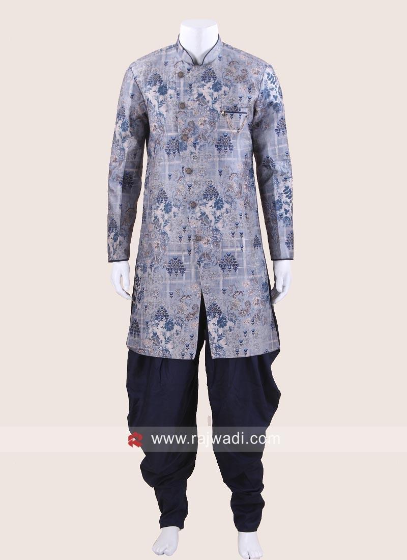 Art Silk Carolina Blue Color Patiala Suit