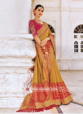 Art Silk Checks Saree with Brocade Border