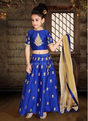 Art Silk Choli Suit in Royal Blue