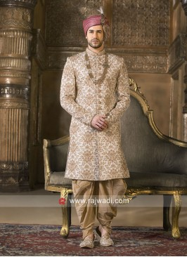 Art Silk Cream Wedding Indo Western