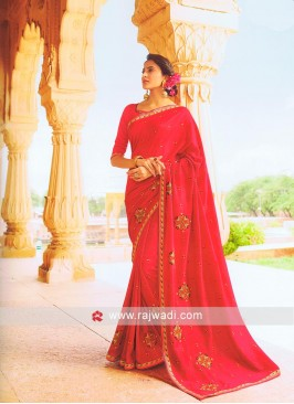 Art Silk Crimson Saree with Blouse