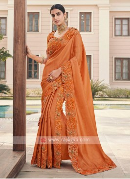 Art Silk Cutwork Saree In Orange