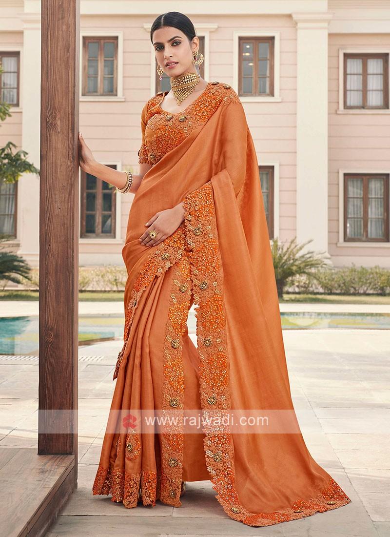 Art Silk Cutwork Saree In Orange