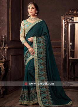Art Silk Dark Bottle Green Saree