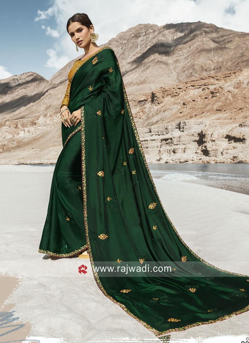 Art Silk Dark Green Heavy Saree
