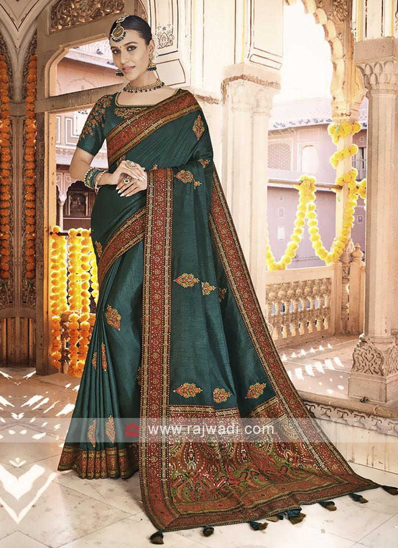 Art Silk Dark Green Saree