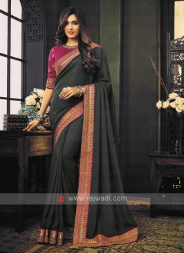 Art Silk Dark Grey Saree