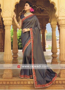 Art Silk Dark Grey Saree with Blouse
