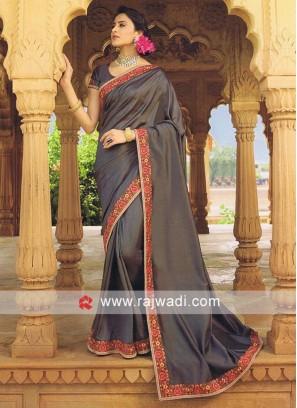 Art Silk Dark Grey Saree with Blouse