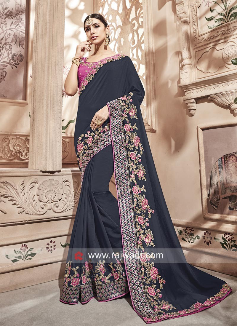 Art Silk Dark Navy Blue Saree