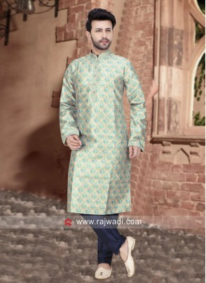 Brocade Silk Sky Blue Kurta Set