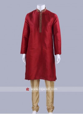 Art Silk Dark Red Color Kurta Set