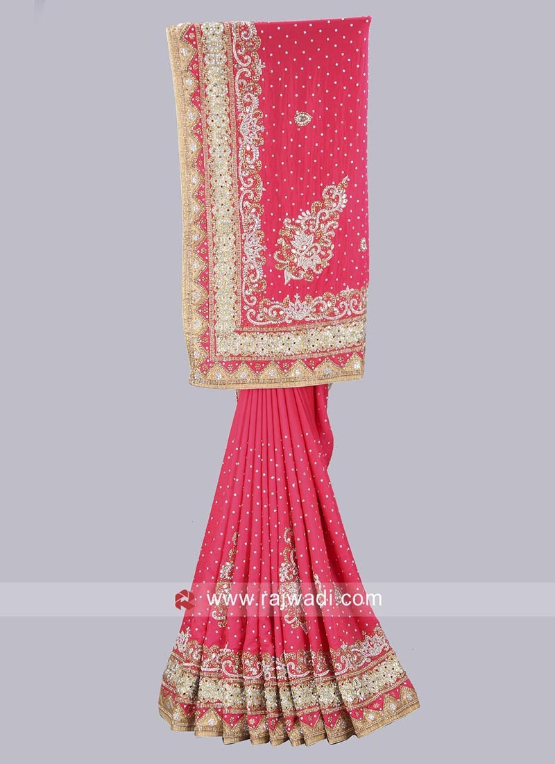 Art Silk Deep Pink Saree