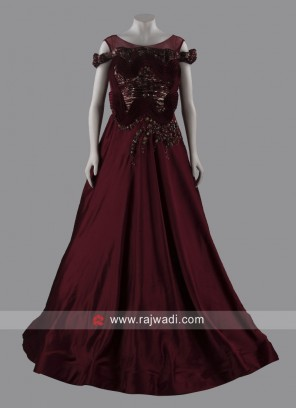 Art Silk Designer Floor Length Gown