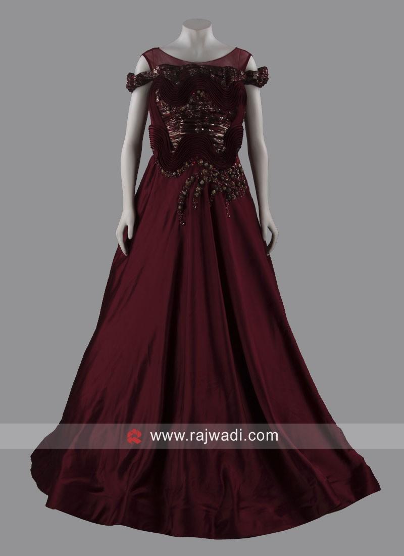 Art Silk Designer Floor Length Gown