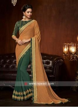 Art Silk Designer Half N Half Saree